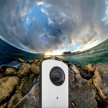 Ricoh Theta Camera, 360 view optic in 1 shot.