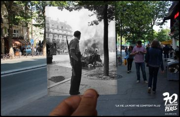 Past-present images to celebrate 70 years liberation of Paris during WWII.